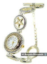 ladies 2 tone American Western style Star watch petite toggle bracelet
