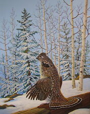 Ruffed Grouse Art Print 11 x 14 by Doug Walpus Birds Winter Scene Acrylic
