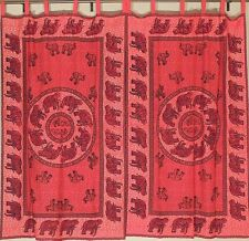 Sari Curtains with Elephant Patterns – Red Cotton Trendy Panels Pair