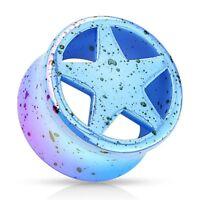 Piercing plug acrylique blue star