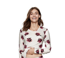2aa9b14216 Victoria s Secret PINK Cozy Waffle Sleep Shirt Top Bow print Size XS