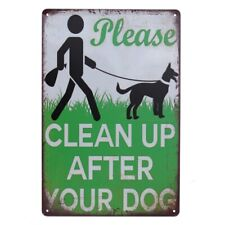 3xWarning Tin Sign 200*300 Metal Clean Up after your Dog Safety Healthy200x300mm
