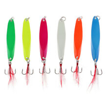 6Pcs Long Cast Fishing Lures Bass Spinners Spoons Hard Baits w/ Treble Hook