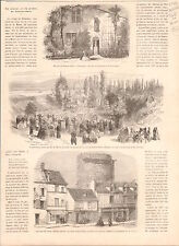 Maison de Jeanne d'Arc à Domremy/Tour à Rouen GRAVURE ANTIQUE OLD PRINT 1865