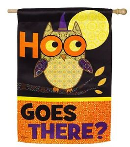 "'HOO GOES THERE"" OWL & ""HAPPY HALLOWEEN"" CAT TWO-SIDED SUEDED FLAG 29x43"