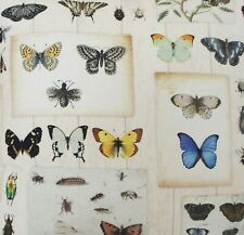 Butterflies Bugs Insects Beatles Printed Cotton Fabric Sold by Meter