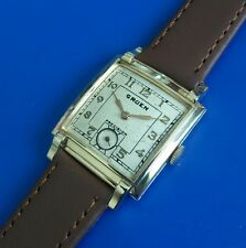 Stunning Vintage 1940s Mans GRUEN *PRECISION* Hand Winding Silver Tone Dial