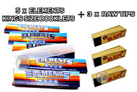 5 x ELEMENTS KING SIZE ULTRA THIN RICE ROLLING RIZLA PAPERS + 3 x RAW TIPS