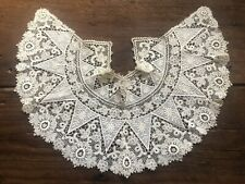 Wow Large Antique Embroidered Lace Collar Vintage Cream Floral Flowers Victorian