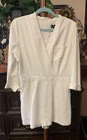 Top Shop Long Sleeve White Shorts Dressy Romper Size 10