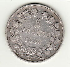 LOUIS PHILIPPE LAUREE 5 FRANCS 1846  A   TTB