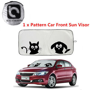 1x New Folding Cartoon Car Window Sun Shade Car Sun Visor Windshield Block Cover