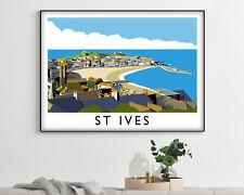 St Ives Landscape Vintage Travel Poster, Modern Wall Art Print