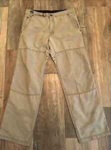 Prana Men's Cotton Blend Straight Pants Vented Adj Waist Pockets Hiking Sz M