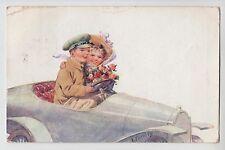POSTCARD - artist signed Feiertag, motoring theme, girl & boy in open top car