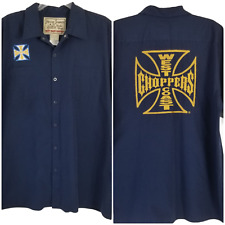 Jesse James Work Wear West Coast Choppers Button Down Embroidered Blue Size XL