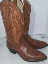 Abilene Brown Leather Cowboy Western Boots Mens Size 10 D
