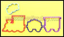STEAM TRAIN WITH CARRIAGES & SMOKE COOKIE CUTTERS