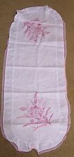 Vintage Table Runner PINK Cross Stitch Flowers Lacy Edge
