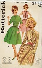 Vintage Misses' Full Skirted Shirtdress Sewing Pattern B2172 Size 16