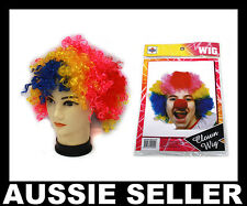 Multi Coloured Rainbow Circus Afro Clown Fancy Dress Costume Ladies Mens Wigs