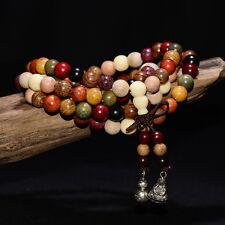 Mala Tibetano Rosario Buddista Buddha grani legno sandalo collana bracciale