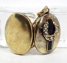 Antiguo Oro 9ct Victoriano Negro Esmalte & Perla Collar De Cruz Medallón de luto