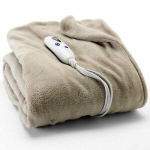 BIDDEFORD Taupe Heated ELECTRIC THROW Microplush Blanket Digital Control