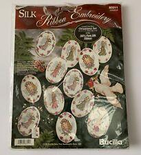 Bucilla Silk Ribbon Embroidery Cross Stitch 12 Pc. Ornament Set Angels 83311