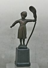 Antique Italian Solid Bronze Sculpture Of Young Butterfly Catcher