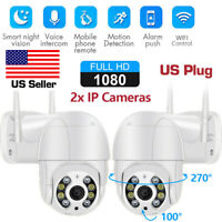 2x ICSEE 1080P Wireless WIFI IP Camera Outdoor CCTV HD PTZ Home Security IR Cam