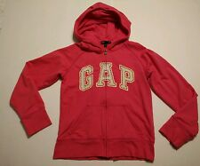 Gap Kids Girls Hoodie Jacket Size 10 L Spring Light Hood French Terry Zip Orange