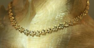 """5.5MM SOLID 14K YELLOW GOLD DC MATTED HAWAIIAN PLUMERIA FLOWER ANKLET 9.0"""" #1L"""