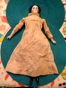 ANTIQUE FROZEN CHARLOTTE DOLL - ORIGINAL CLOTHES - PORCELAIN HEAD, HANDS, FEET