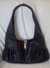 RENATO ANGI Venezia Black Leather Shoulder Bag