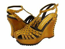 NIB Lisa Donald Pliner Shiloh Platform Wedge Leather Sandal Studded Shoe * 7