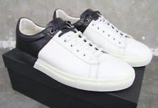 HUGO BOSS BLACK SNEAKER TIMELESS TENN 43 WHITE LEDER SCHUHE SHOES 9 10 DUAL TONE