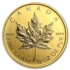 1/2 oz Gold Canadian Maple Leaf Coin - Random Year Coin - SKU #10