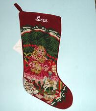 "Sferra Needlepoint Stocking Embroidered ""Lara"" Doll Under Tree Handmade New"