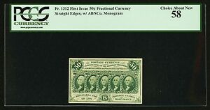 1862-63  50 CENT FRACTIONAL CURRENCY FR-1312 CERTIFIED PCGS CHOICE ABOUT NEW 58!