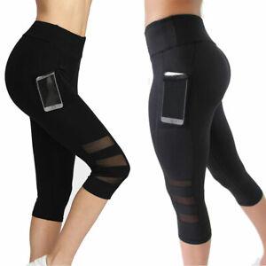 Women High Waist Black Mesh Leggings Gym Yoga Pants Workout Sports Fitness Pants