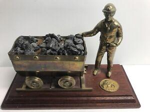 Cymru Mining Wales UK British Coal Miner & Cart Brass Sculpture on Wood Base