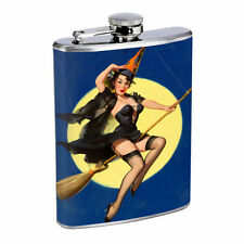 Flask 8oz Stainless Steel Classic Vintage Model Pin Up Girl Design-135 Whiskey