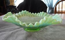 """ANTIQUE JEFFERSON GREEN OPALESCENT PANELED 12"""" CRIMPED RUFFLED BOWL"""