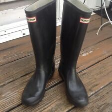 Hunter Black Wellies Tall Rain Boot Galoshes Womens 8 M7 UK6 EU 39 Rubber Shoes