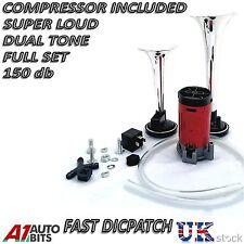 12V CROMO GEMELLO Dual Tone AIR HORNS KIT PER AUTO BARCA FURGONE CAMION Loud HORN TRUMPET