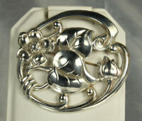 """1940s SILVERMAN BROS Retro Pin 2"""" STERLING WATER LILY Handcrafted Repoussé FAB!"""