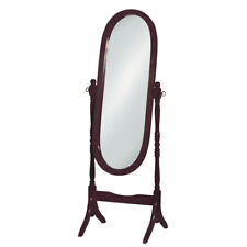 Premier Housewares Oval Cheval Mirror, Floor Standing, Mahogany Finish Frame