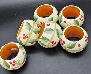 Set Of 6 Dansk Wood Napkin RINGS Holly Berries Christmas Holidays Green White