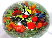 INCREDIBLE Magnum RICK AYOTTE Soul Mates BIRDS Flora LADY BUG Glass PAPERWEIGHT